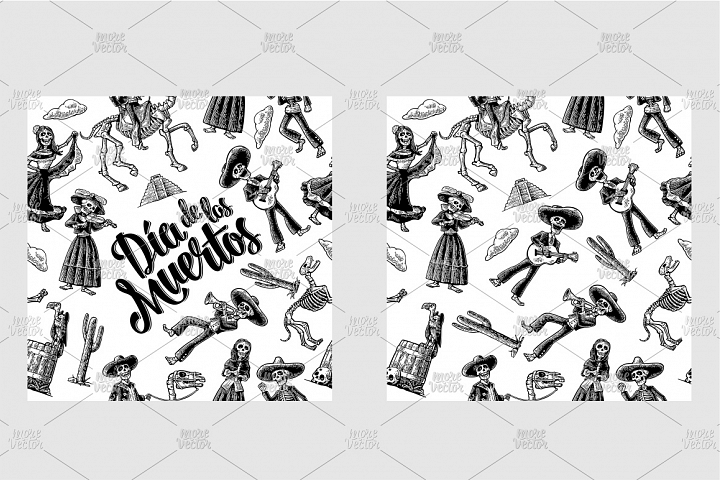 Seamless pattern skeleton Mexican national costumes engrave