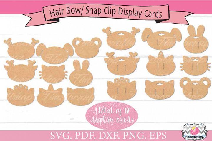 Animal Ears Hair Bow Snap Clip Display Card Bundle