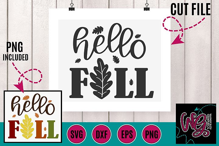 Hello Fall SVG DXF PNG EPS