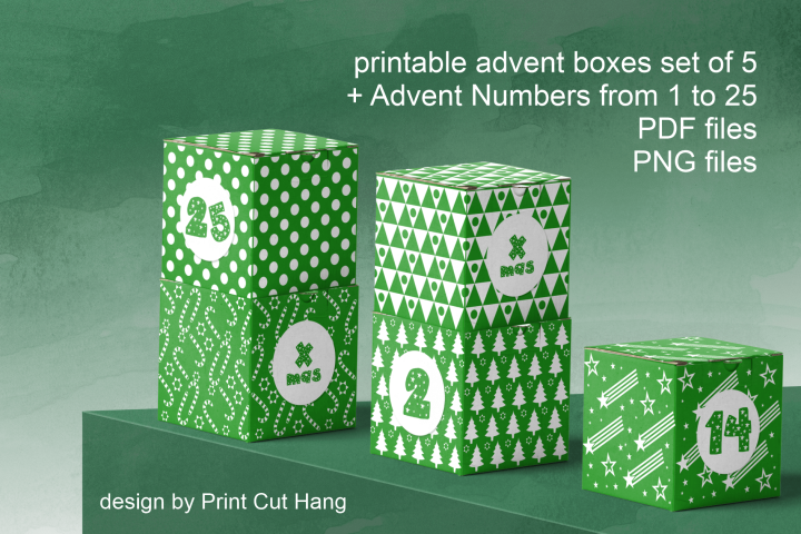 Printable Green Advent Cube Boxes and Numbers 1-25 PDF file