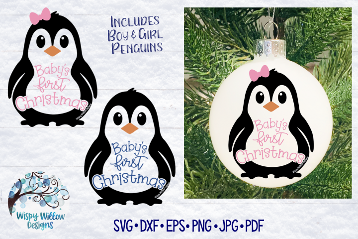 Babys First Christmas SVG   Christmas Penguin SVG File