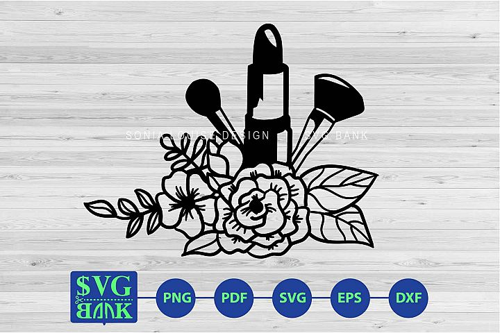 Makeup tools with flower svg cut file