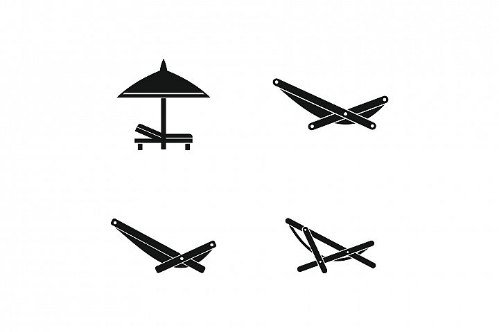 Deckchair icon set, simple style