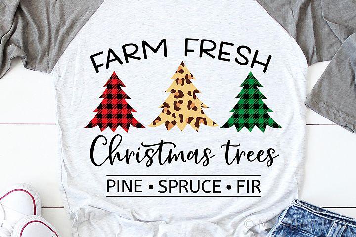 Farm Fresh Christmas Trees Svg, Christmas Svg, Leopard Print