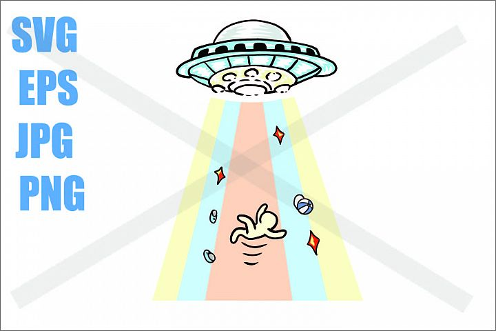 UFO Abduction a guy - SVG EPS JPG