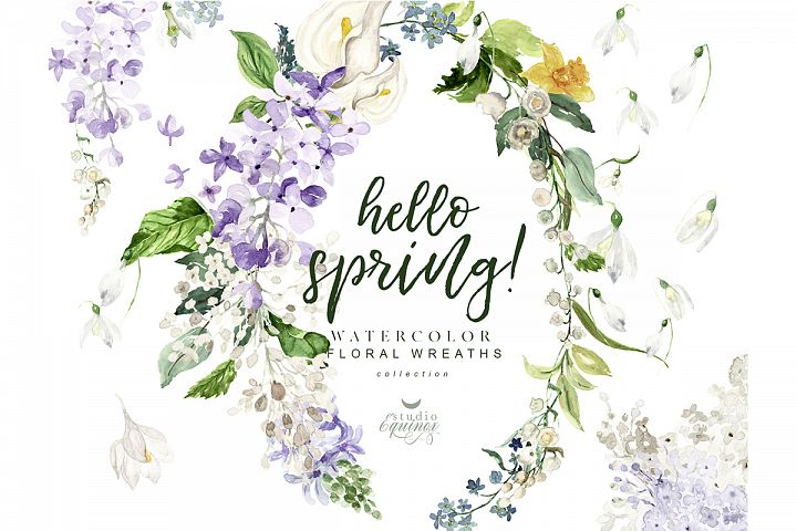 Hello Spring! Watercolor floral wreaths with spring flowers