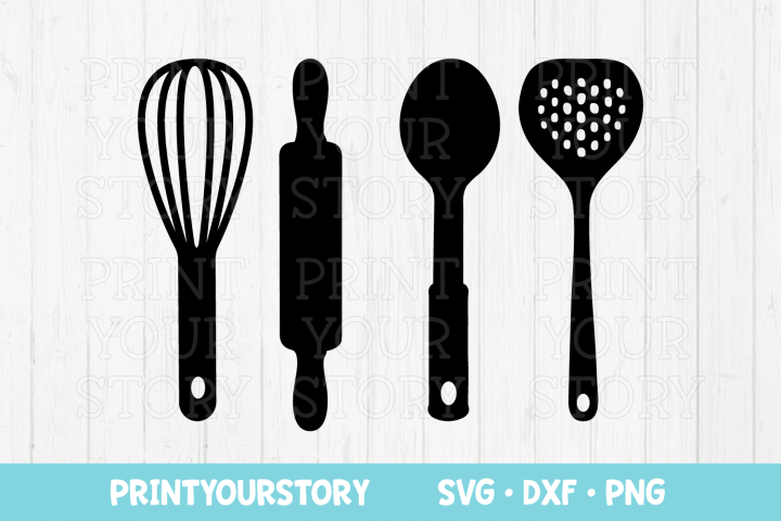 Kitchen Utensils Clipart Set - SVG DXF PNG files