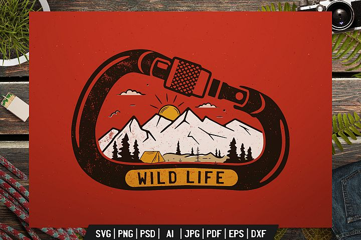 Wild Life Logo, Adventure Retro Print, Camp Shirt SVG File