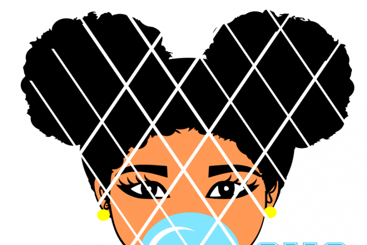 Afro girl blowing gum,Afro Puffs svg,Silhouette cut file,