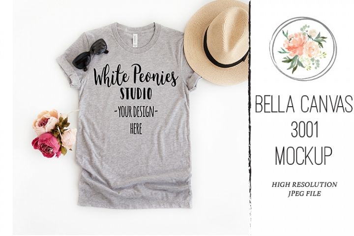 Athletic Heather Bella Canvas 3001 Shirt Mockup Spring