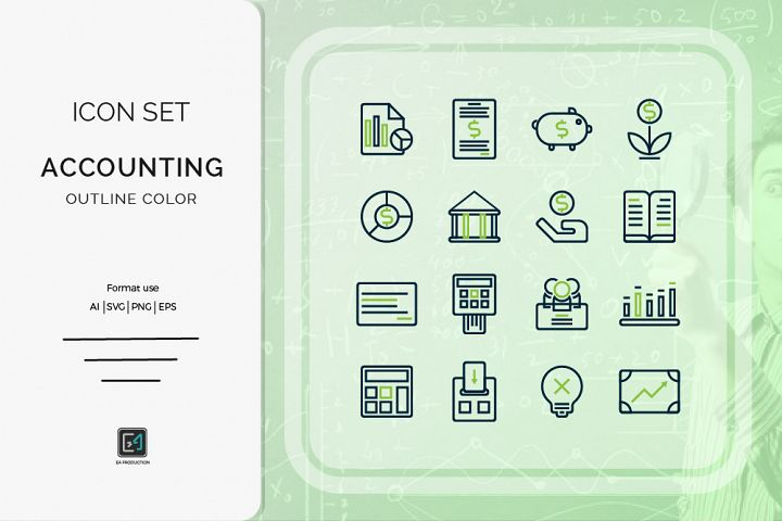 Icon set Accounting outline color style