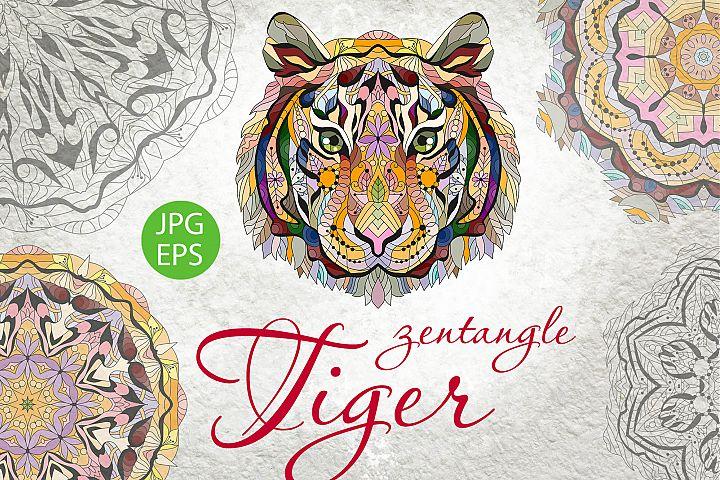 Zentangle tiger head