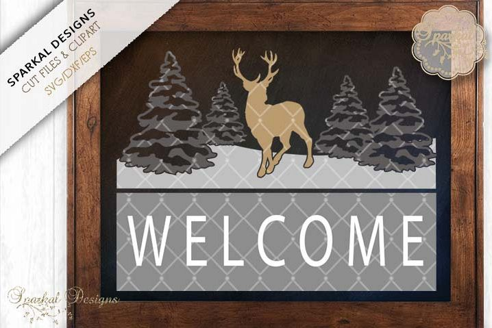 Welcome Sign Stencil With Deer, Buck