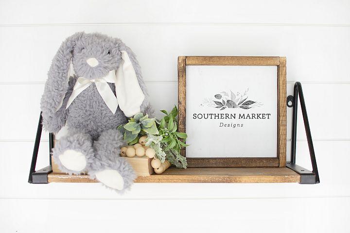 Nursery 10x10 Sign Mock Up Wood Frame Styled Photography