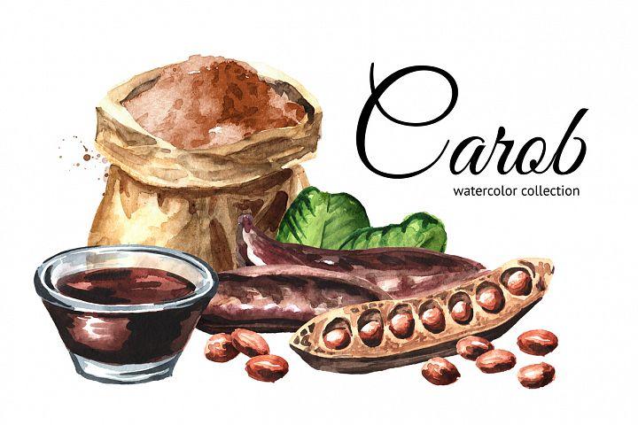 Carob. Watercolor collection