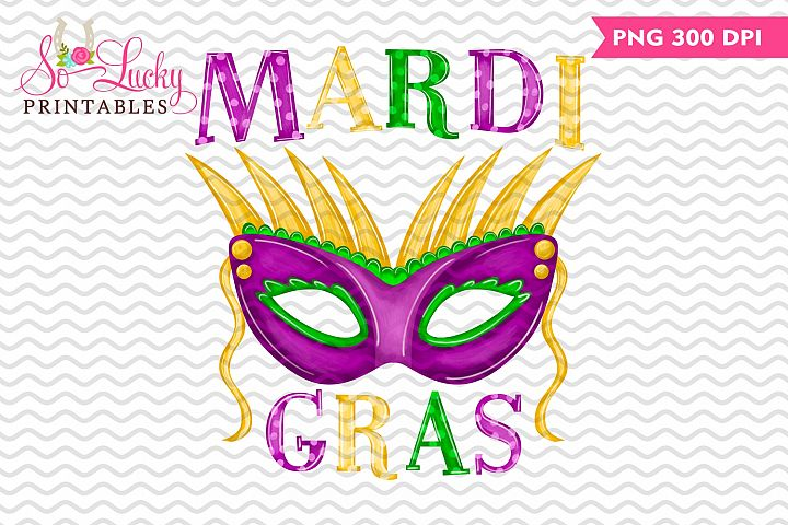 Mardi Gras Mask painted printable sublimation design