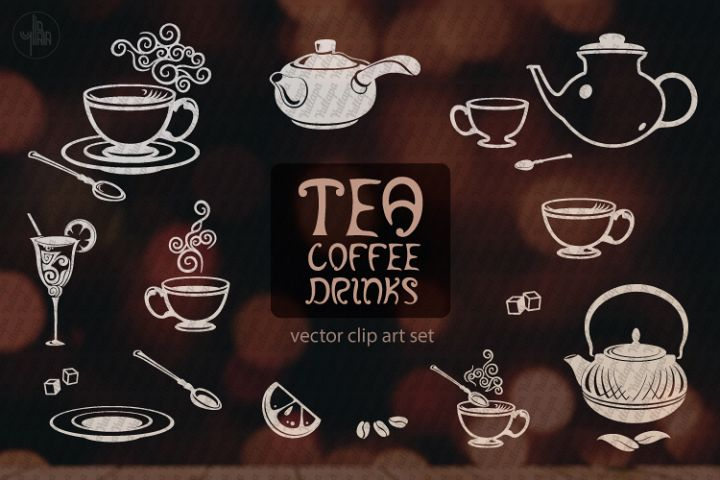 Tea, Coffee, Drinks - vector clip art for cafe or restaurant