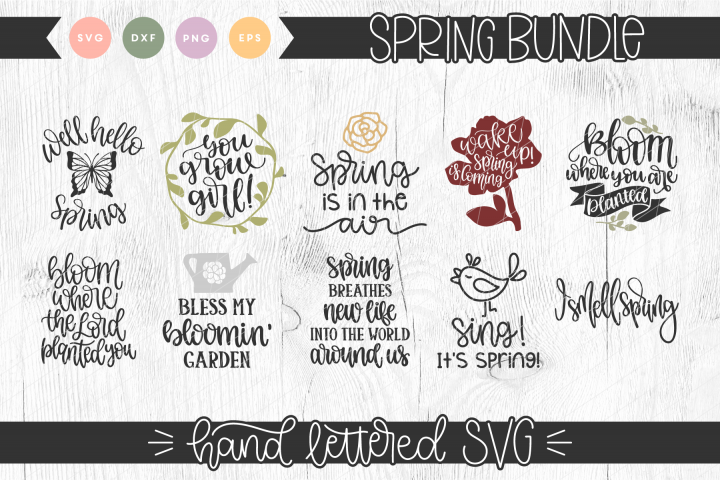 Spring Hand Lettered SVG Bundle