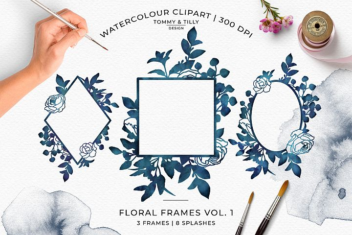 Watercolour Midnight Floral Frames - Wedding Clipart PNG