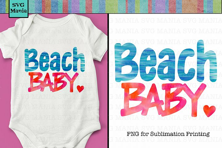 Beach Baby, Sublimation Design for Baby, DTG Print File Baby