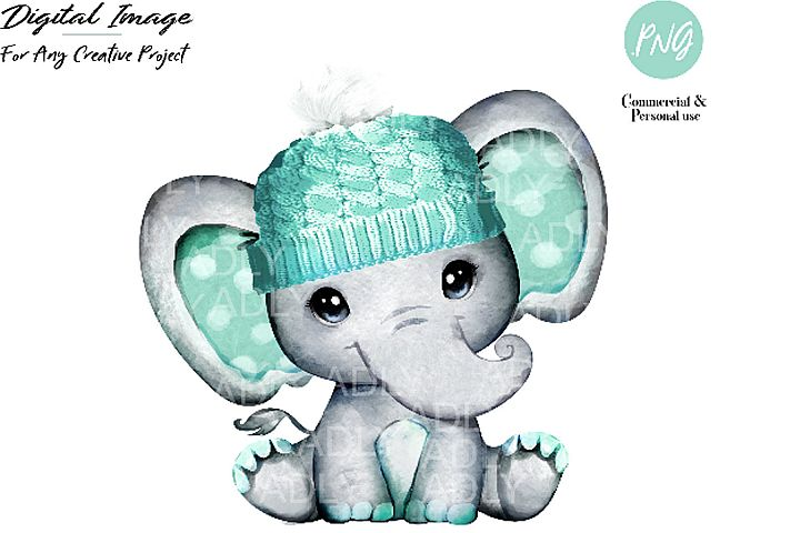 Mint boy elephant with winter hat, watercolor hand-dran mint