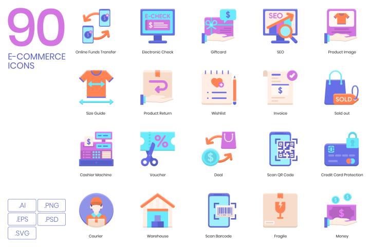 90 E-Commerce Icons Violet Series