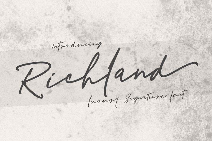 Richland | signature font
