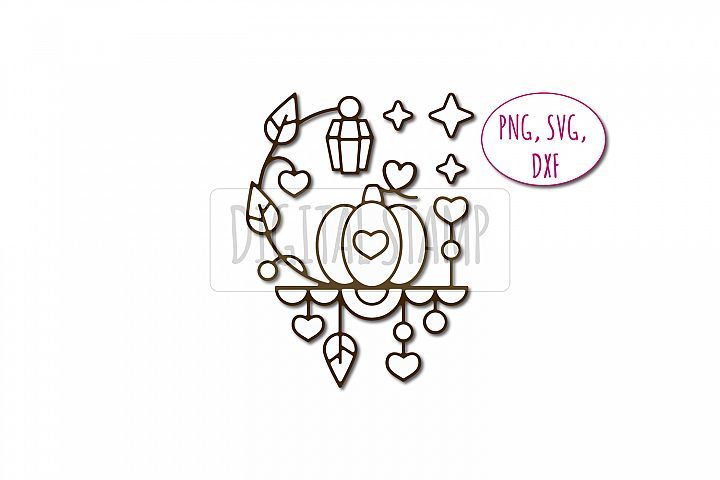 Pumpkin Photoshop brush, svg, dxf, png. Autumn digital stamp