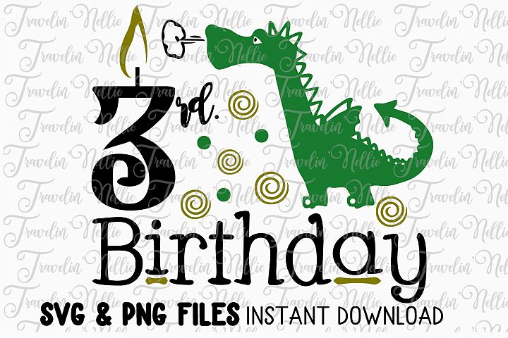 3rd Birthday Dragon SVG Cut File Cricut Silhouette Third