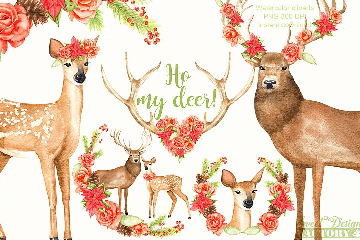 Deers and flowers clipart.