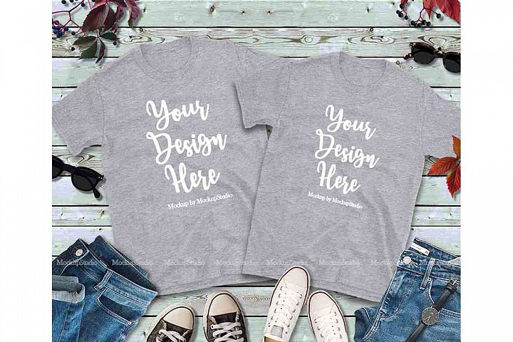 Matching Couples Gray T-Shirts Mockup, Two Shirts Mock Up