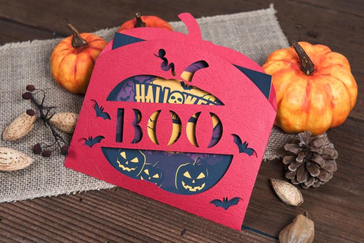 Halloween Boo Pumpkin Envelope Invitation cutting file