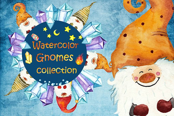 Watercolor Gnomes collection