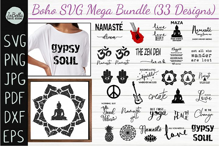 Boho SVG Bundle, Sublimation PNGs & Printables