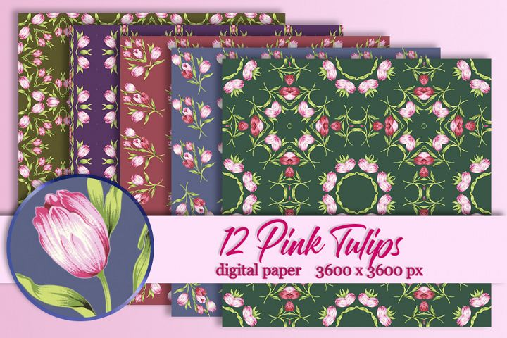 12 Pink tulips digital paper Background Flower texture