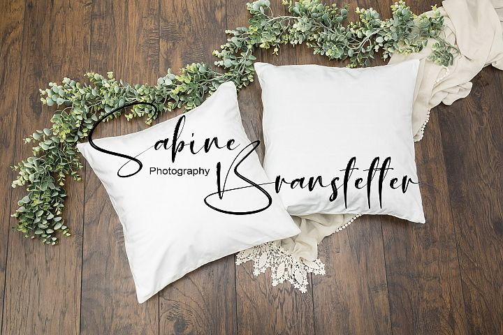Styled Stock Photo Two White Square Pillows Mockup