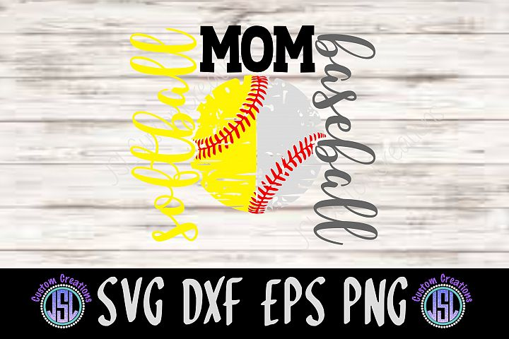 Softball Baseball Mom -Divided Design | SVG DXF EPS PNG File