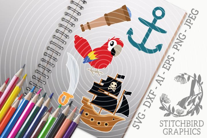 Pirate 1 Bundle SVG, Silhouette Studio, Cricut, Eps, JPEG