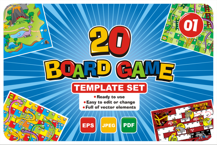 20 Boardgame Template Set Graphic