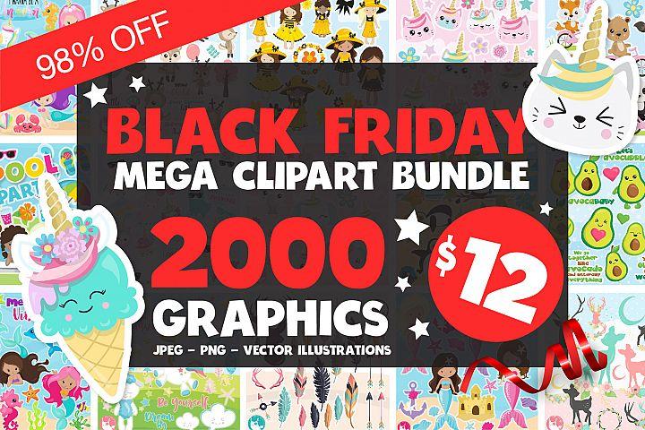 Black Friday MEGA Clipart Bundle - 98OFF