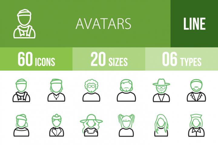 60 Avatars Line Green & Black Icons