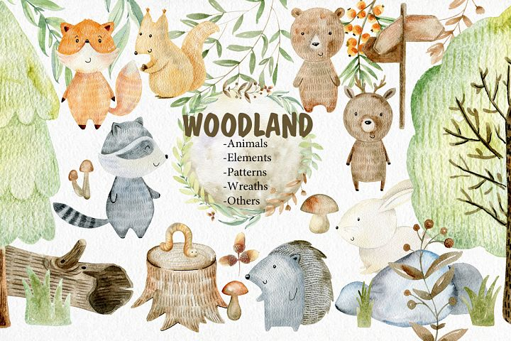 Woodland. Watercolor set.