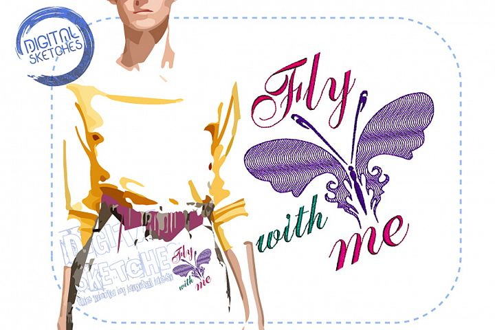 Butterfly Saying Fly With Me Machine Embroidery Design