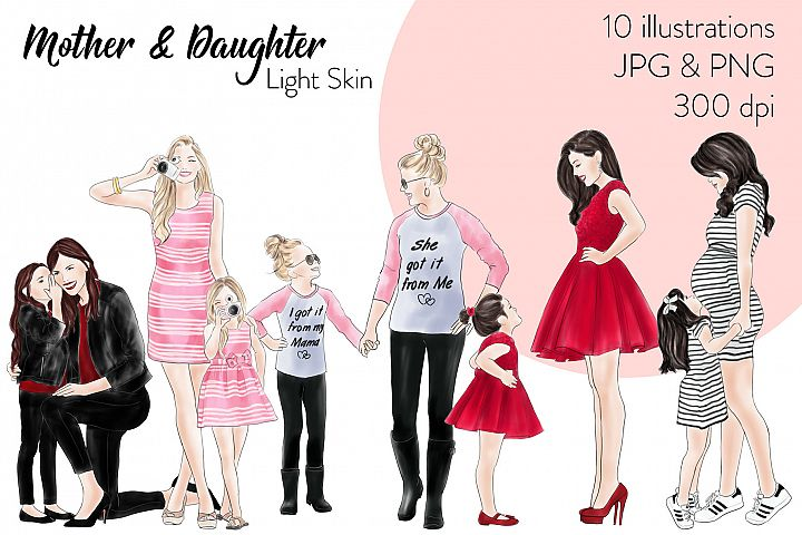 Fashion illustration clipart - Mother & Daughter - Light Skin