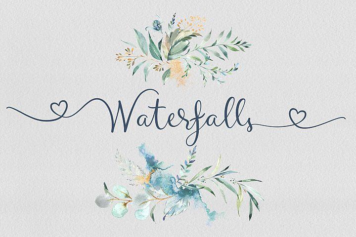 Waterfalls love font swash font