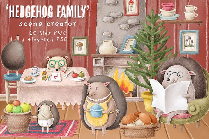 Hedgehog family scene creation kit