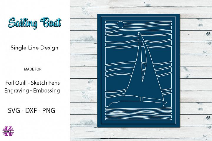 Sailing Boat for Foil Quill Single Line Design