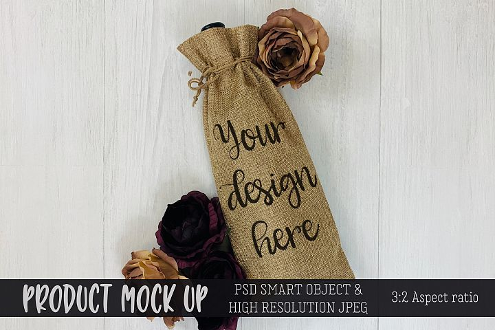 Wine Gift Bag flowers Craft mock up | PSD & JPEG