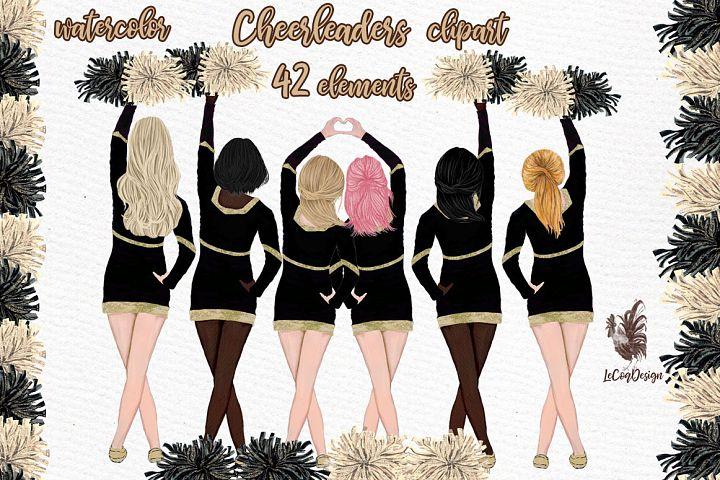 Cheerleaders Clipart Watercolor Girls Clipart Sport clipart