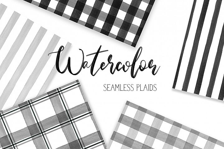 16 Watercolor Buffalo Plaid Black, Gray White Patterns